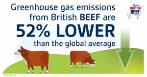Greenhouse gas emissions from British beef are 52% lower than the global average
