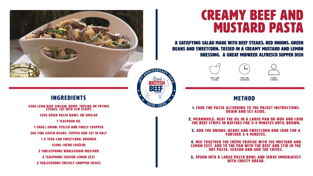 GBBW2020  Creamy Beef and Mustard Pasta recipe card