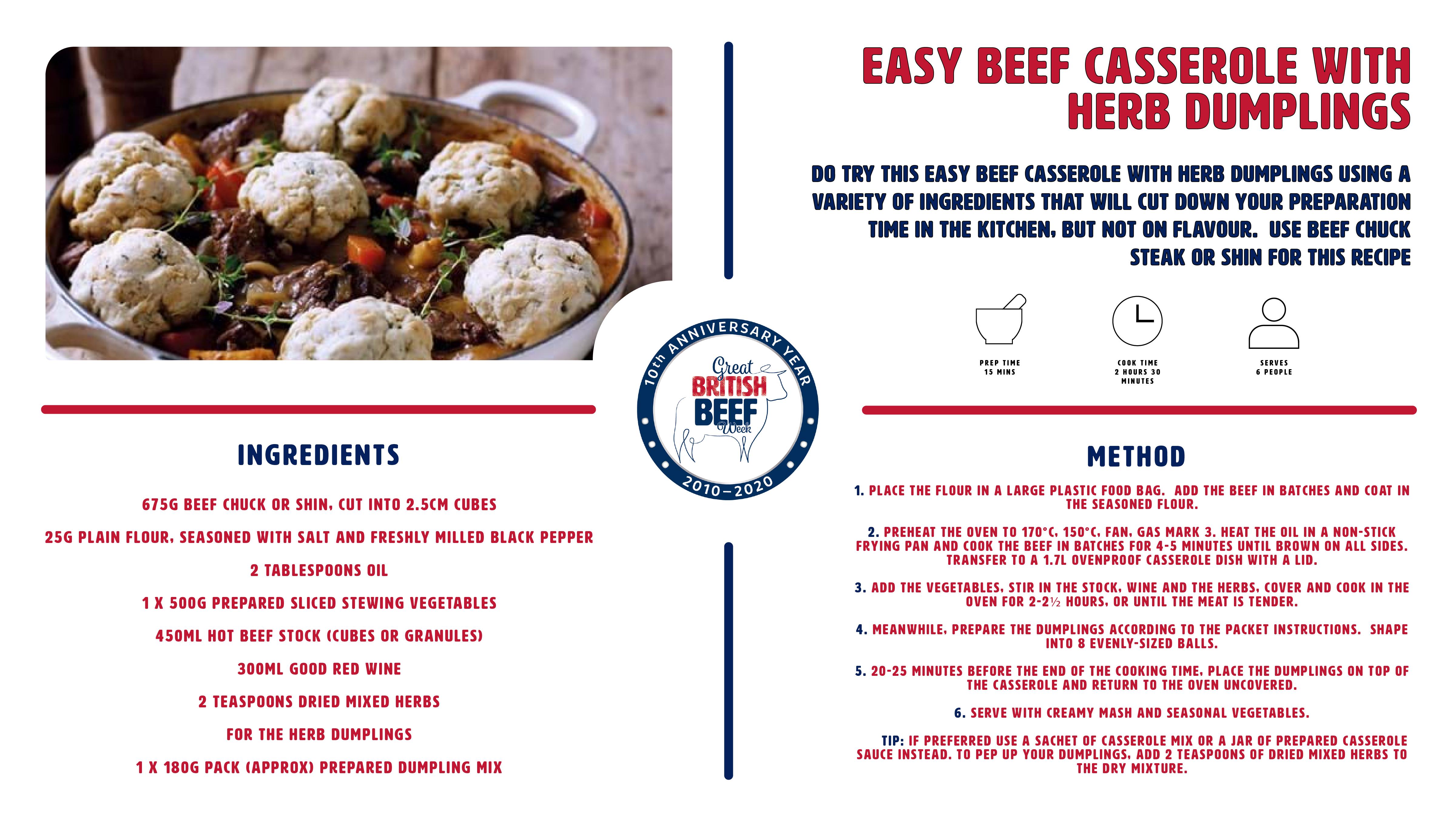 GBBW2020 Easy Beef Casserole with Herb Dumplings recipe card