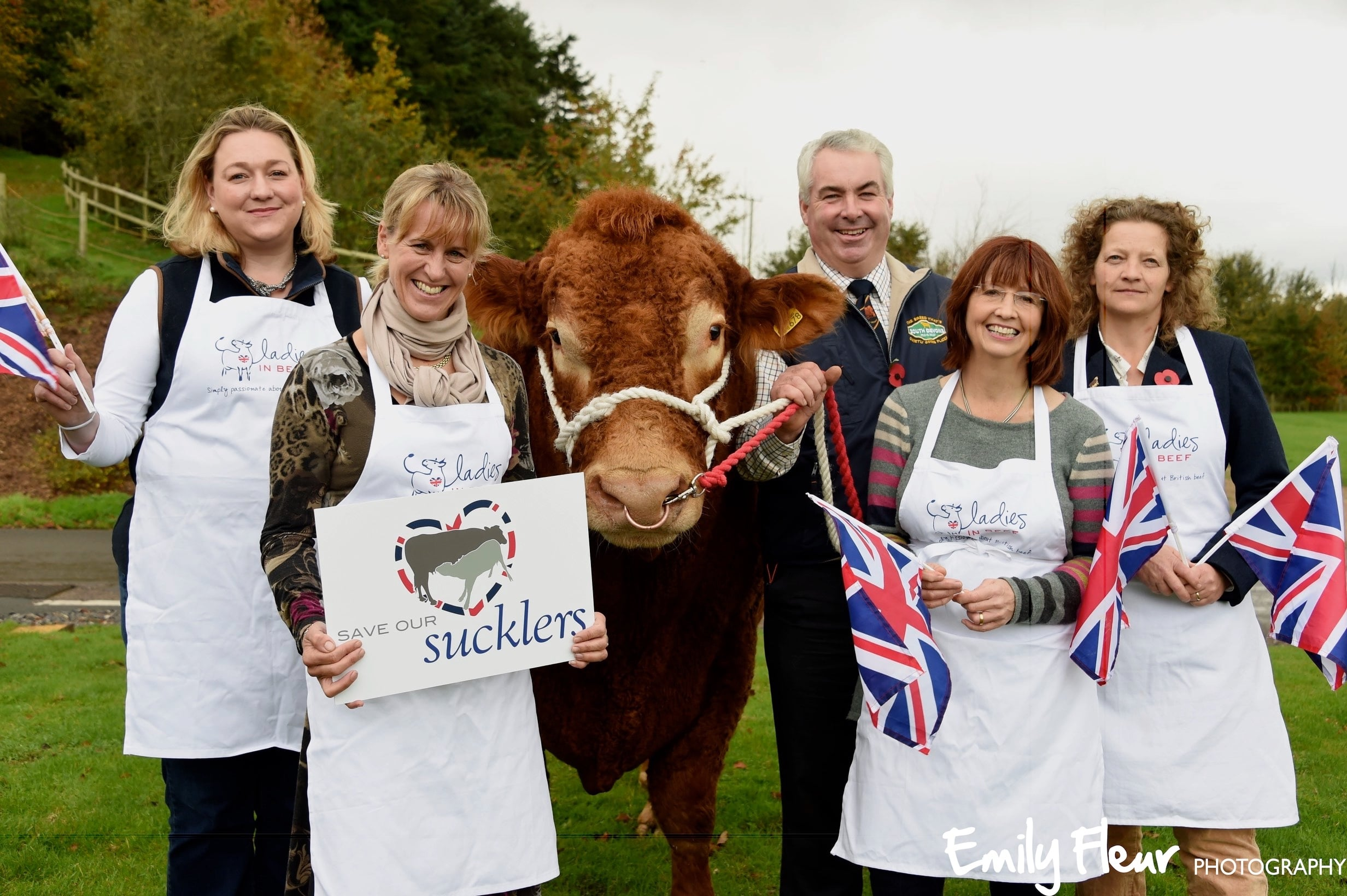 Left to right: Suzy Deeley, RABI, Minette Batters, LIB co-founder, David Thomas, South Devon breeder, Jilly Greed, LIB co-founder, Juliet Cleave, LIB member, Cornwall.